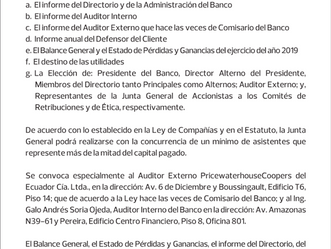 """""""CONVOCATORIA A JUNTA GENERAL ORDINARIA DE ACCIONISTAS DEL BANCO PICHINCHA C.A."""