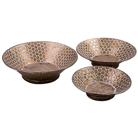 Hex Decorative Metal Bowls Set (3) $119