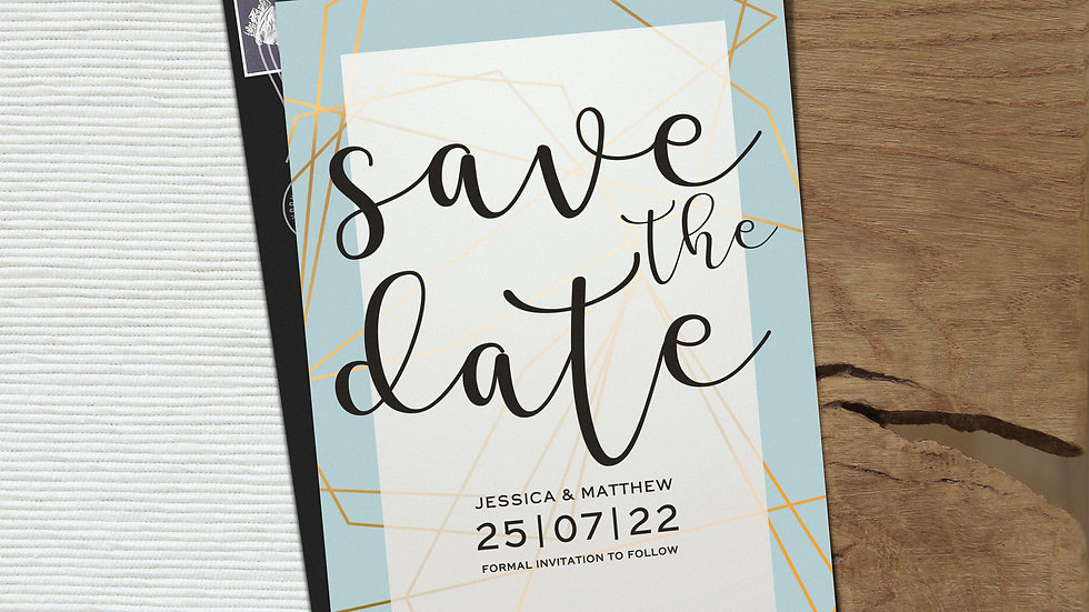 Blue Geometric Save The Date Cards With Envelopes
