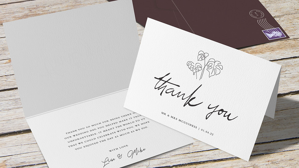 Beach Folded Thank You Cards With Envelopes
