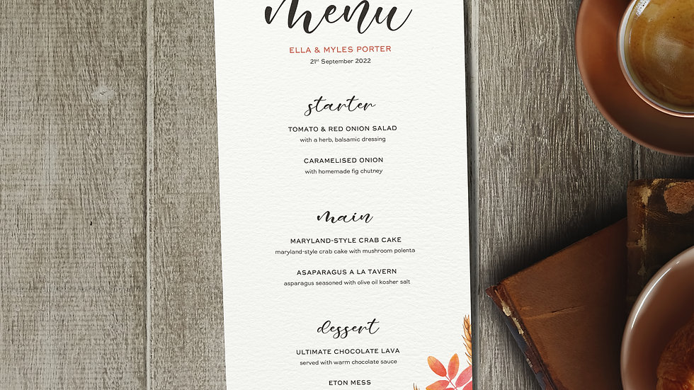 Autumn Wedding Menus