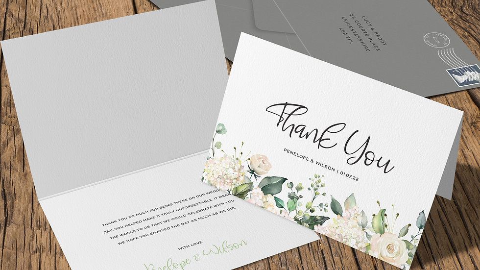 White Roses Folded Thank You Cards With Envelopes