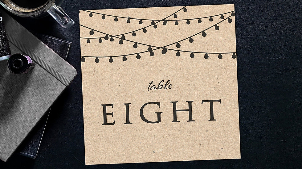 Kraft Lights Table Name Cards