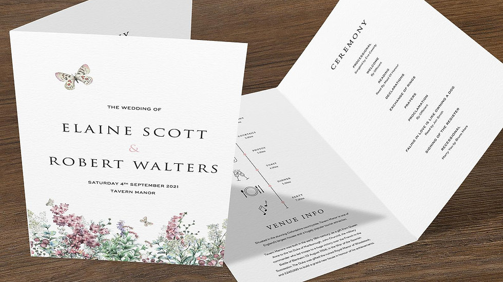 Wildflowers Folded Wedding Programs