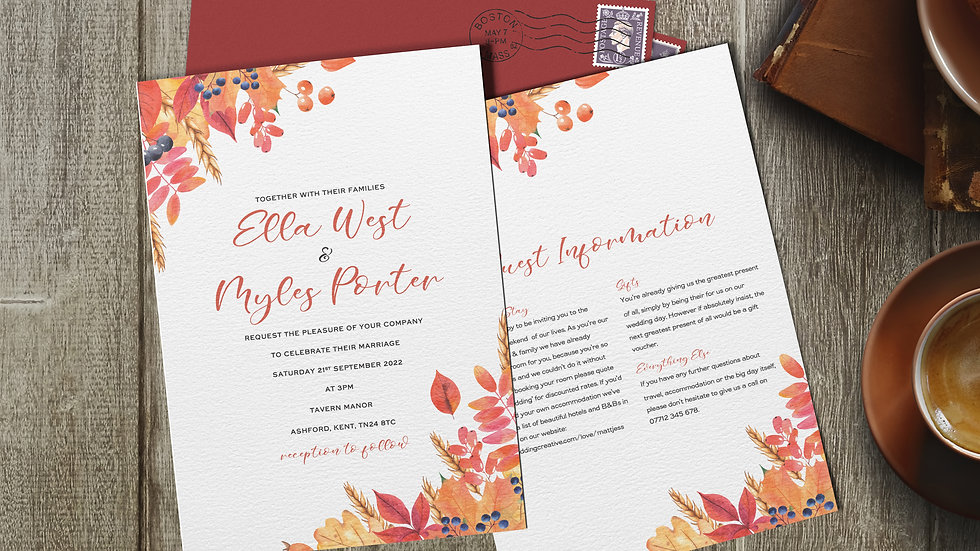 "Autumn 7x5""Wedding Invitations With Envelopes"