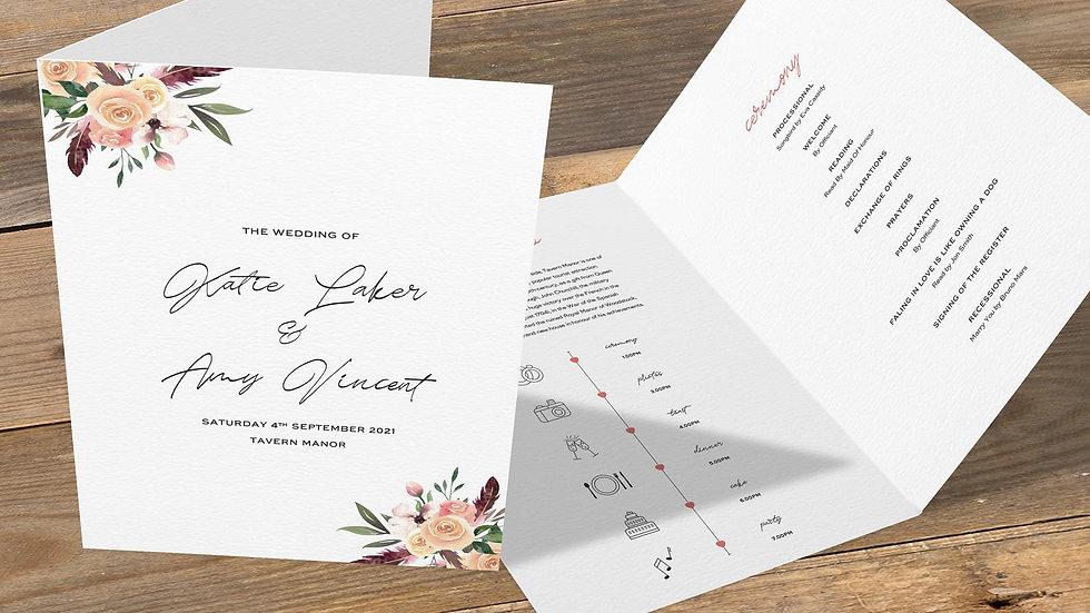 Rustic Floral Folded Wedding Programs