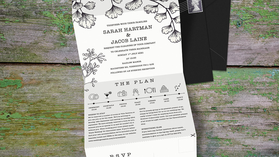 Outline Tri Fold Wedding Invitations With Envelopes