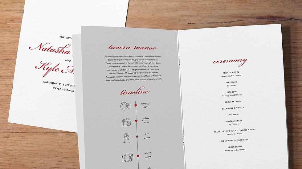 'One' Wedding Order Of Service Booklet