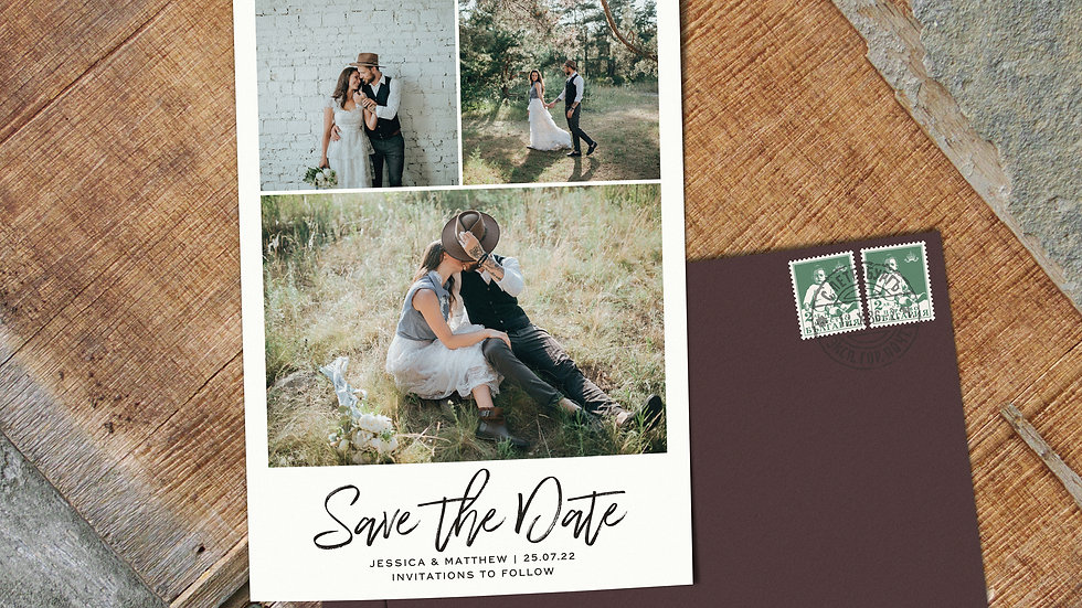 Three Photo Save The Date Cards With Envelopes