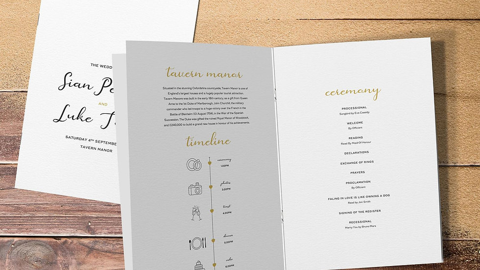 Destination Wedding Order Of Service Booklet