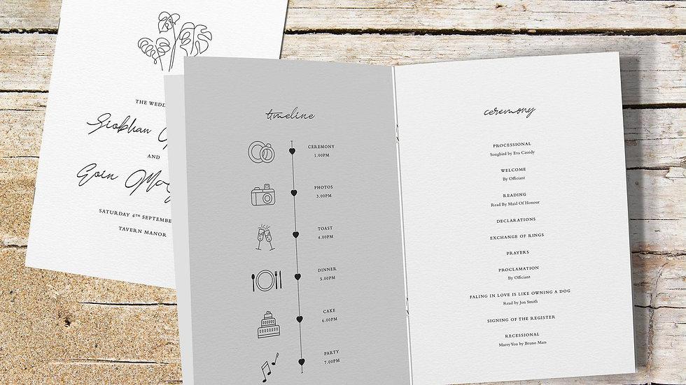Beach Wedding Order Of Service Booklet