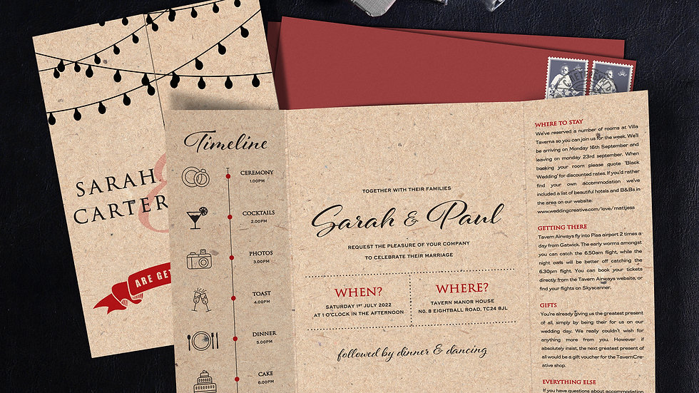 Kraft Lights Gatefold Wedding Invitations With Envelopes