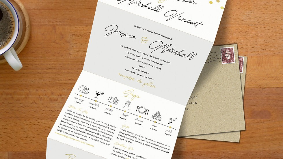 Confetti Tri Fold Wedding Invitations With Envelopes