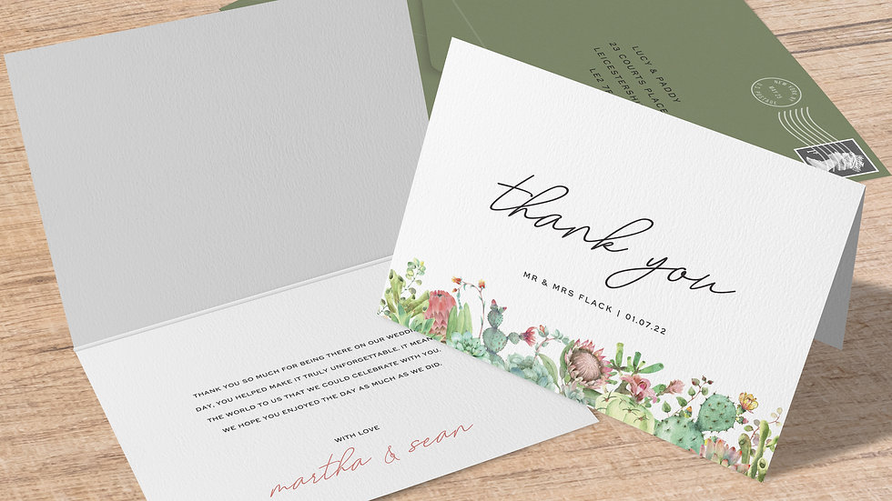 Succulents Folded Thank You Cards With Envelopes