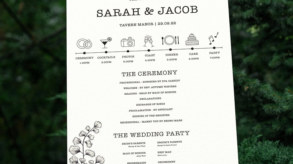 Outline Wedding Program Sign