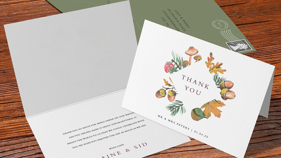 Woodland Folded Thank You Cards With Envelopes