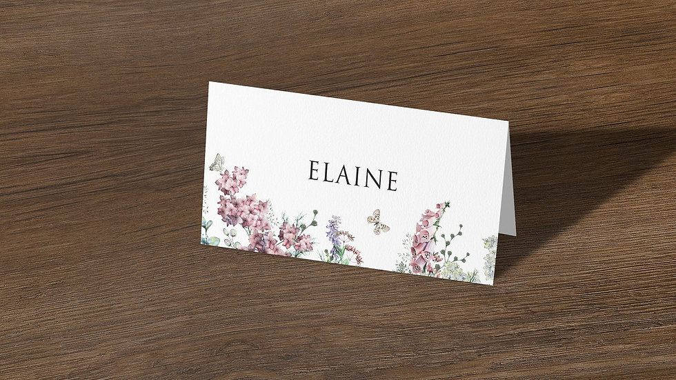 Wildflowers Place Cards With Names Printed