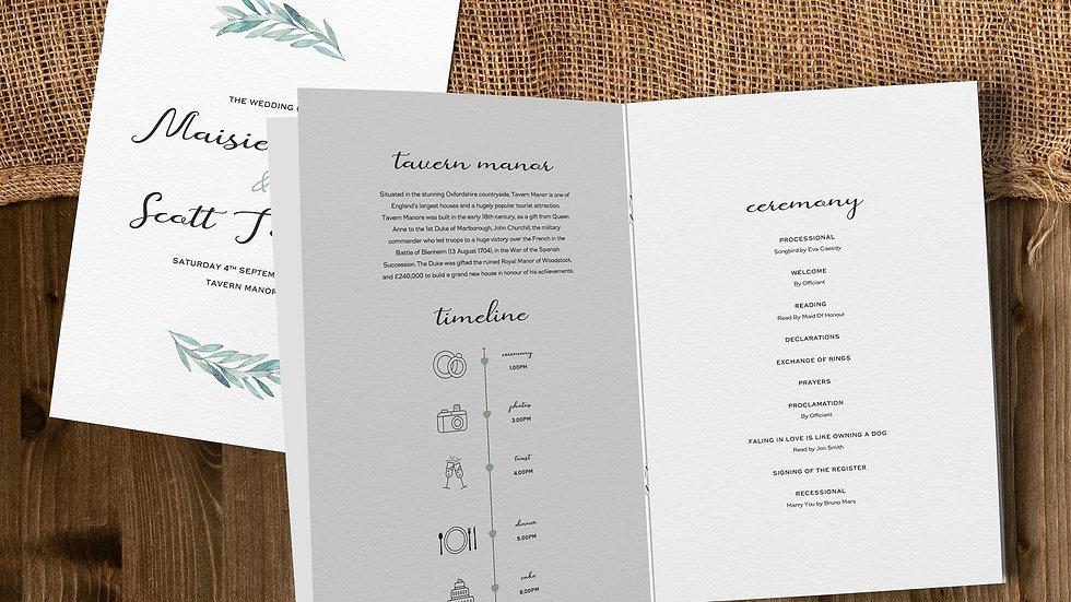 Olive Wedding Order Of Service Booklet