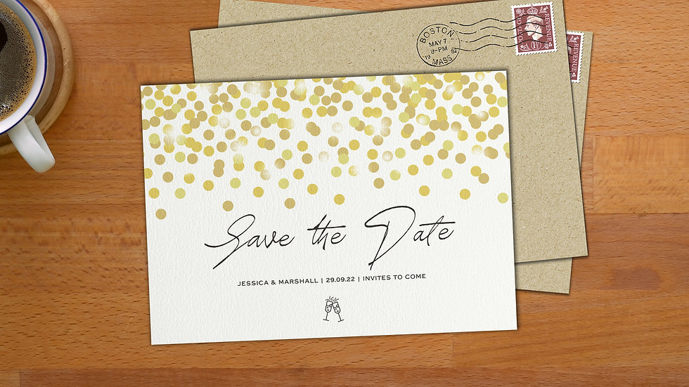 Confetti Save The Date Cards With Envelopes