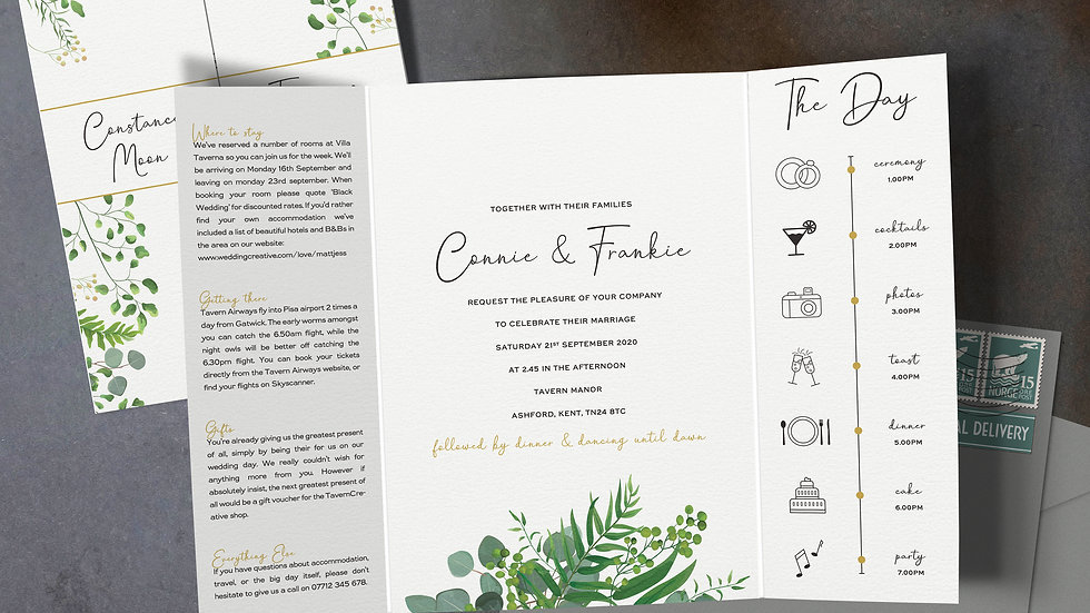 Greenery Eucalyptus Gatefold Wedding Invitations With Envelopes