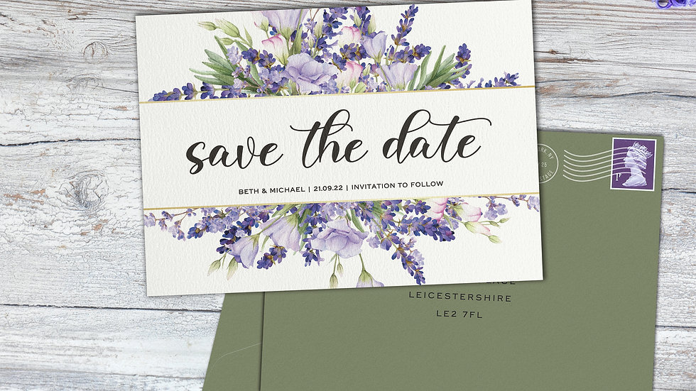 Lavender Save The Date Cards With Envelopes