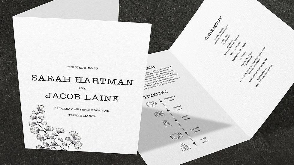 Outline Folded Wedding Programs