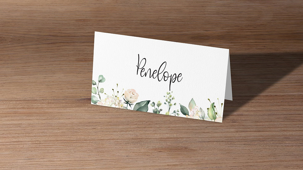 White Roses Place Cards With Names Printed