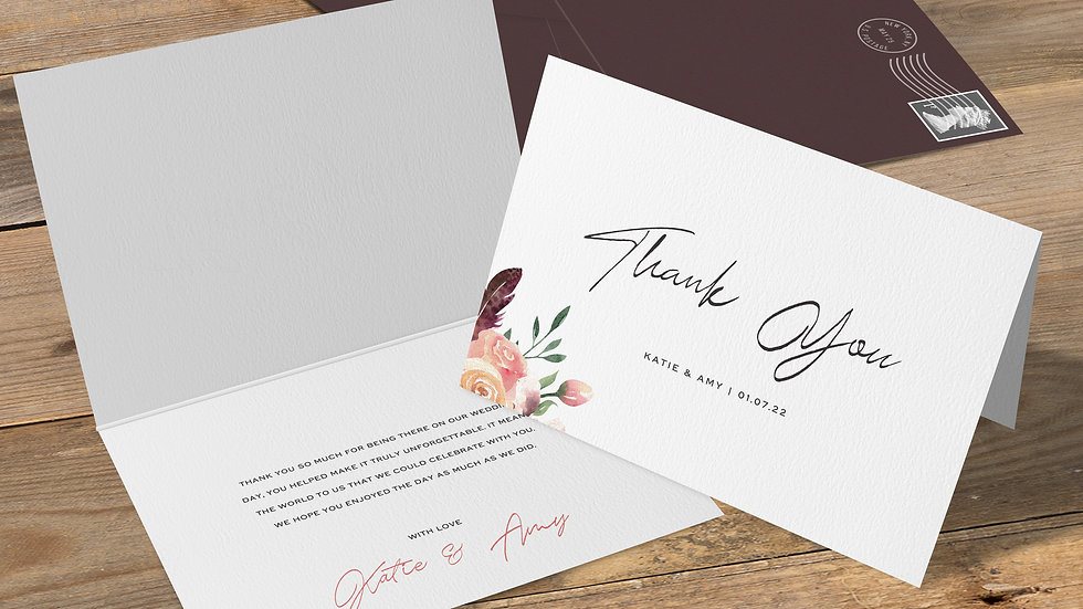 Rustic Floral Folded Thank You Cards With Envelopes