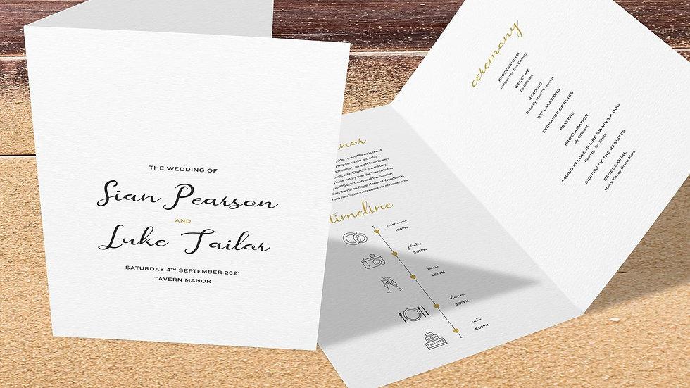 Destination Folded Wedding Programs
