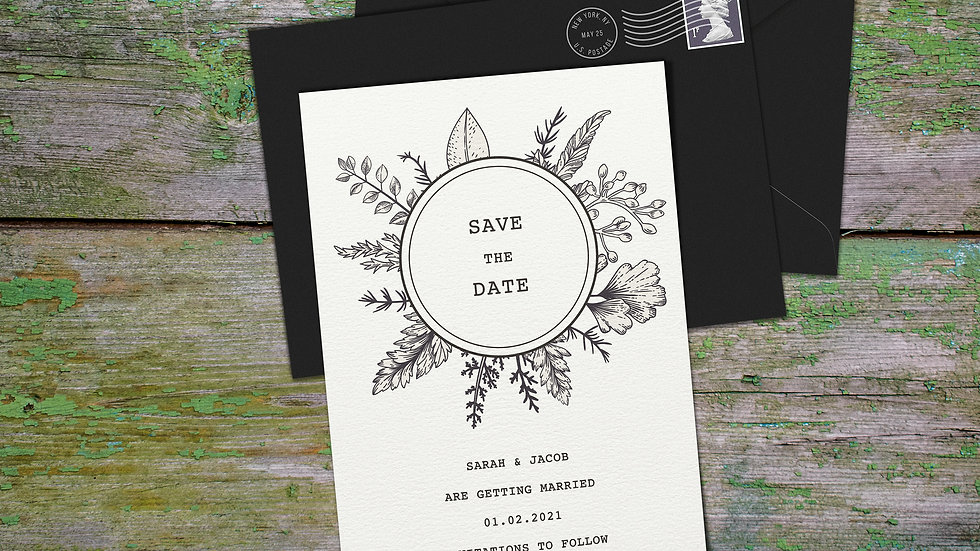 Outline Save The Date Cards With Envelopes