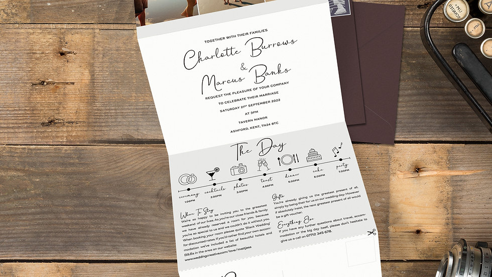 Photobooth Tri Fold Wedding Invitations With Envelopes