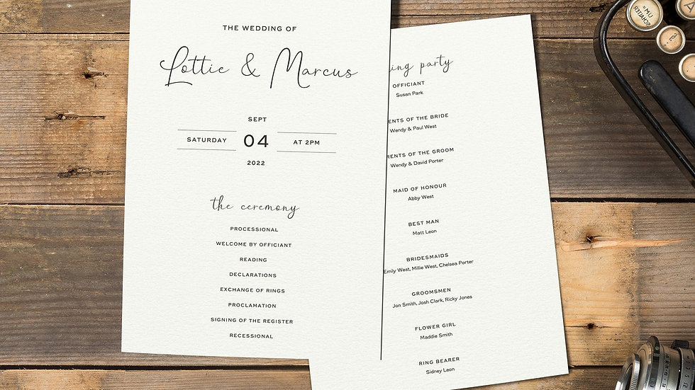 Photo Booth Order Of Events Card