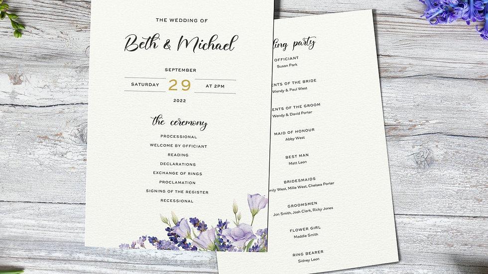 Lavender Order Of Events Card