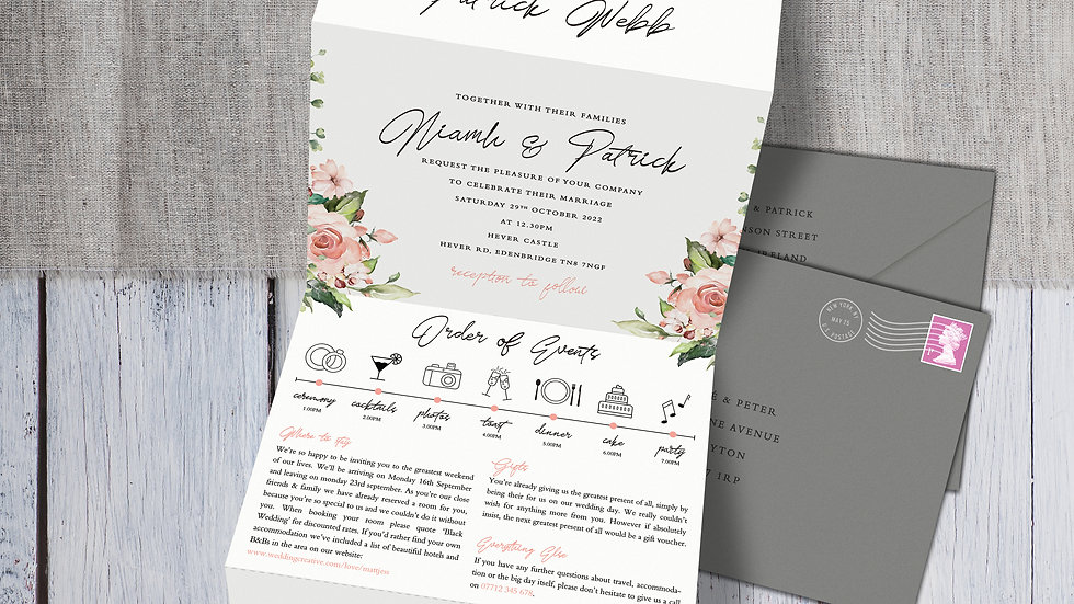 Blush Floral Tri Fold Wedding Invitations With Envelopes