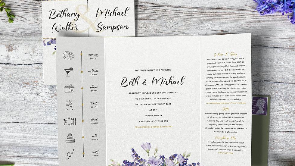 Lavender Gatefold Wedding Invitations With Envelopes
