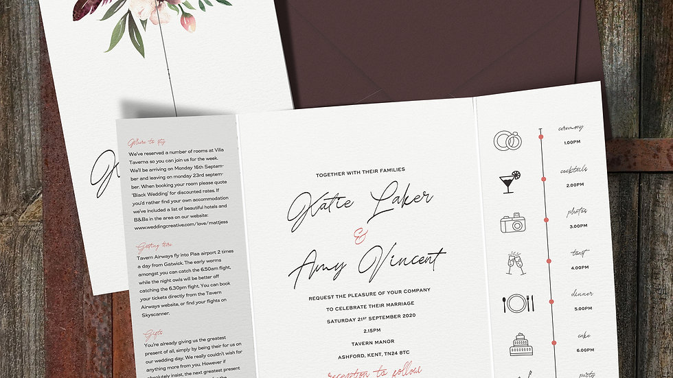 Rustic Floral Gatefold Wedding Invitations With Envelopes