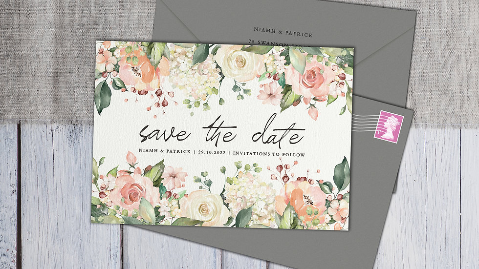 Blush Floral Save The Date Cards With Envelopes