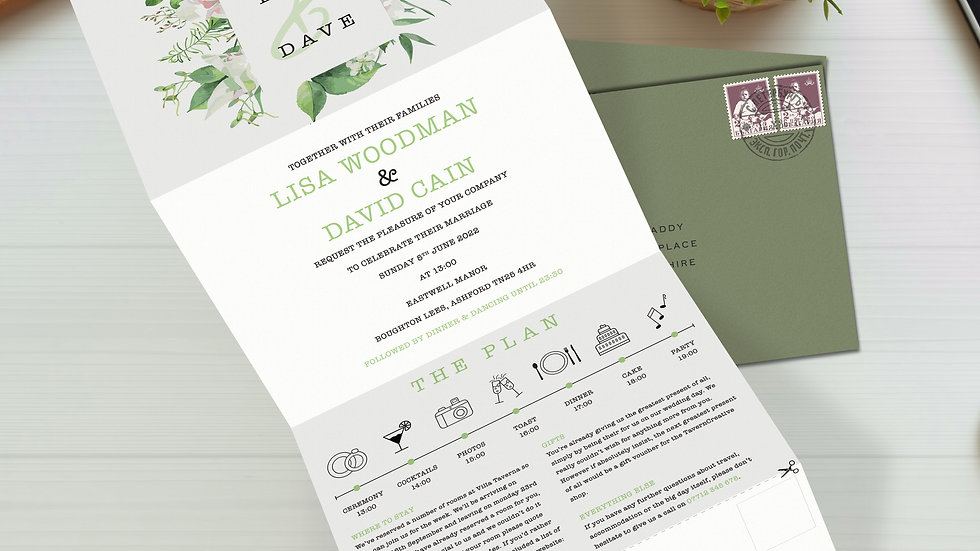 Burst Tri Fold Wedding Invitations With Envelopes