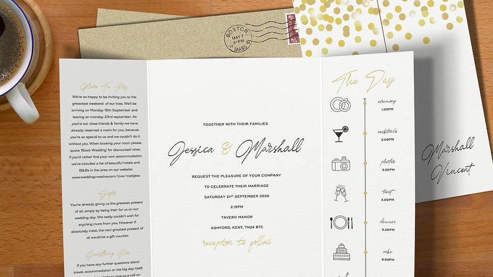 Confetti Gatefold Wedding Invitations With Envelopes