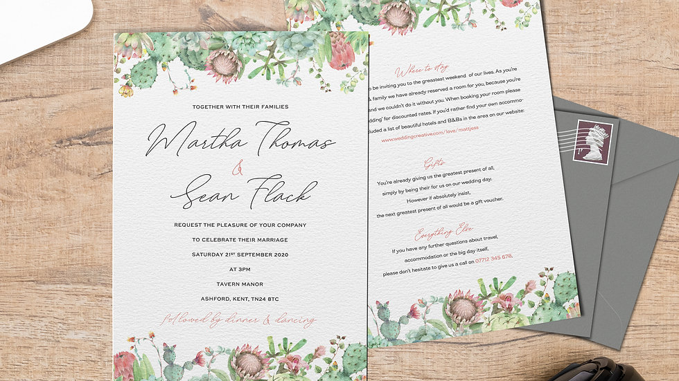 "Succulents 7x5""Wedding Invitations With Envelopes"