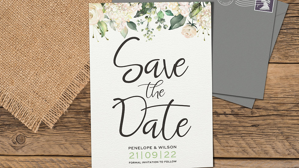 White Roses Save The Date Cards With Envelopes