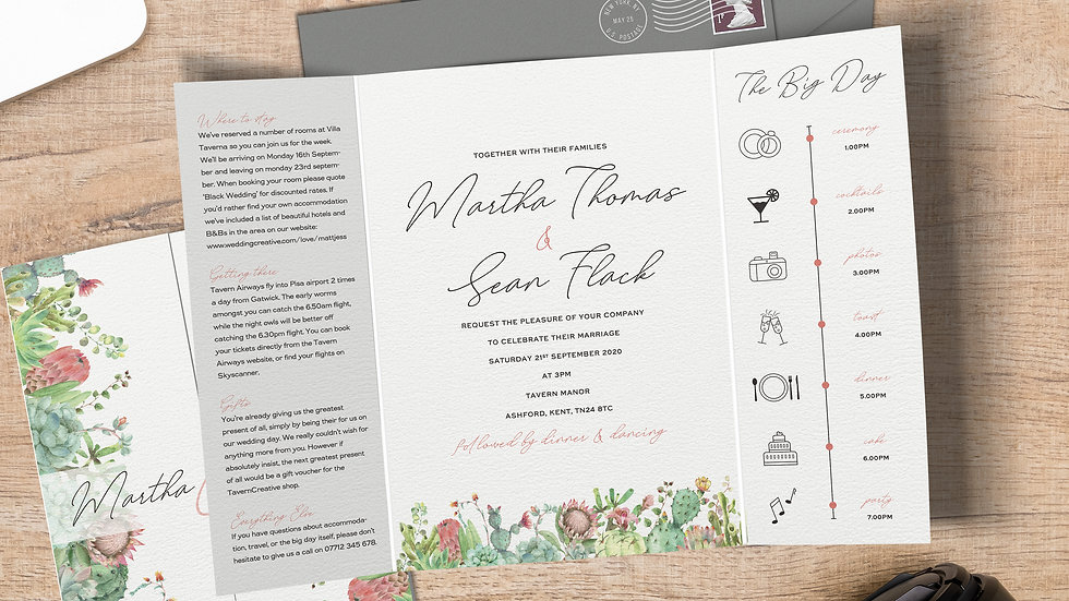 Succulents Gatefold Wedding Invitations With Envelopes