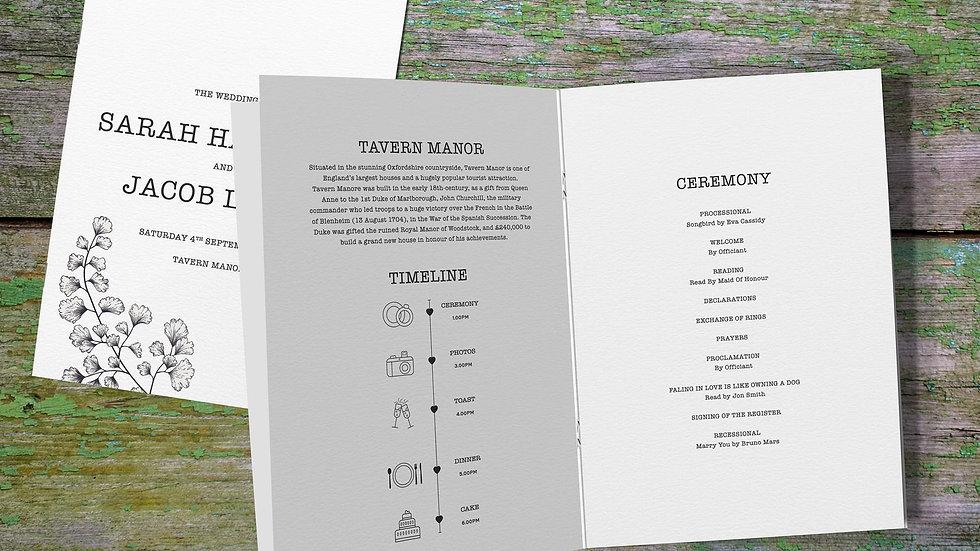 Outline Wedding Order Of Service Booklet