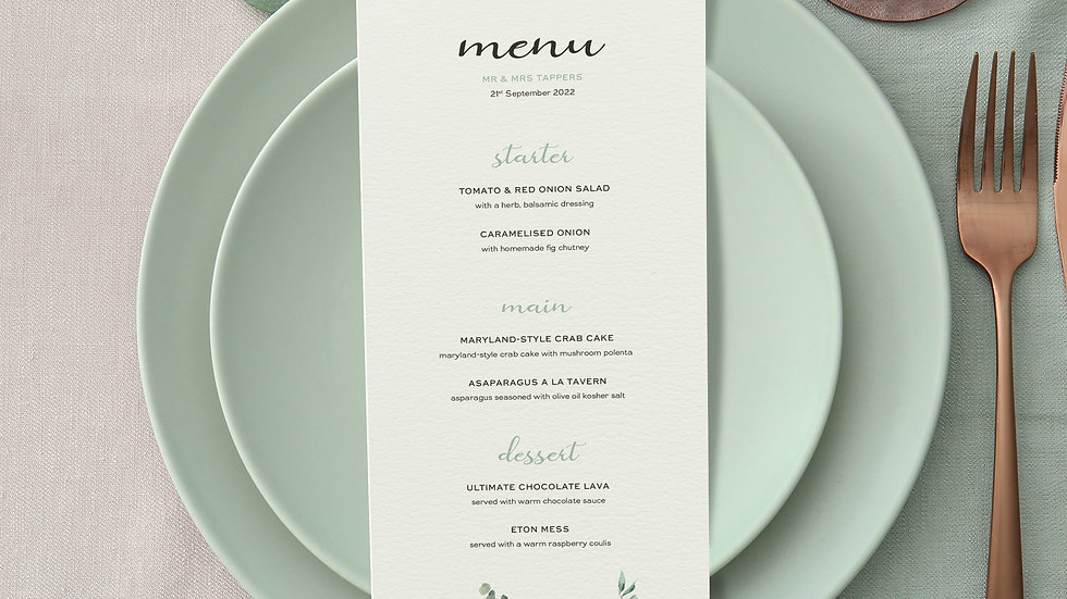 Olive Wedding Menus