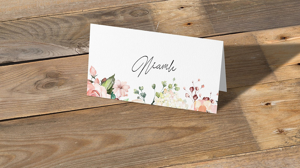 Blush Floral Place Cards With Names Printed