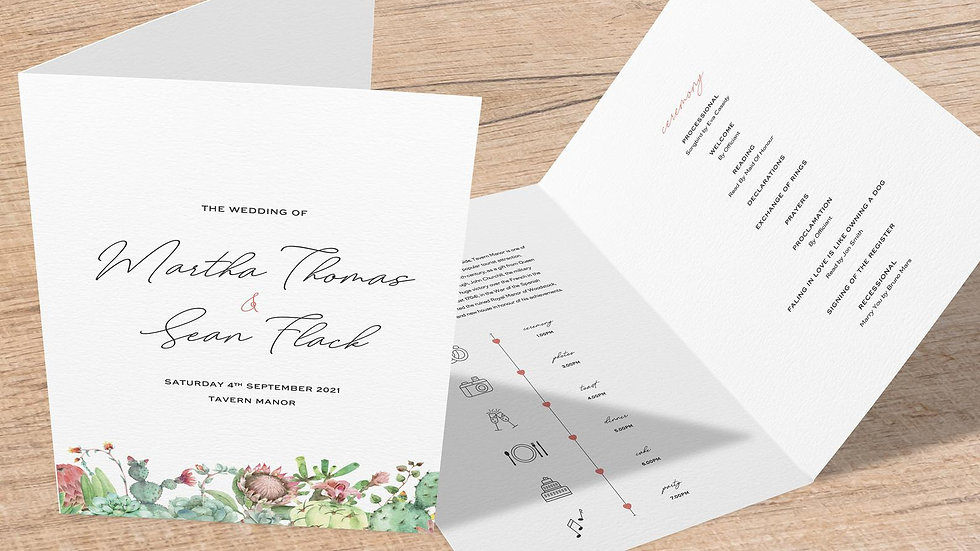Succulents Folded Wedding Programs