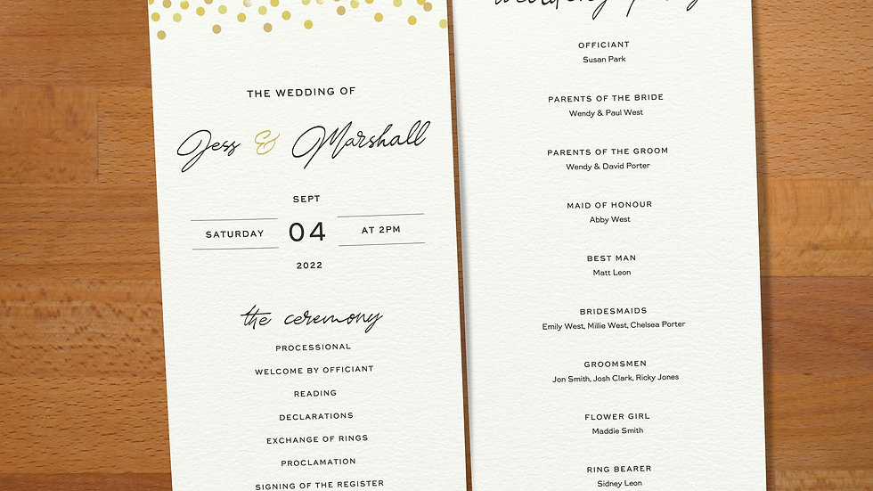 Confetti Order Of The Day Cards