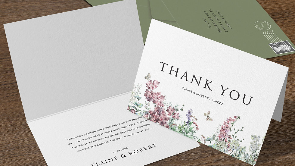 Wildflowers Folded Thank You Cards With Envelopes
