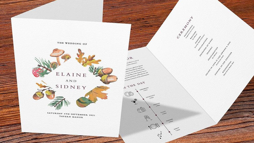 Woodland Folded Wedding Programs