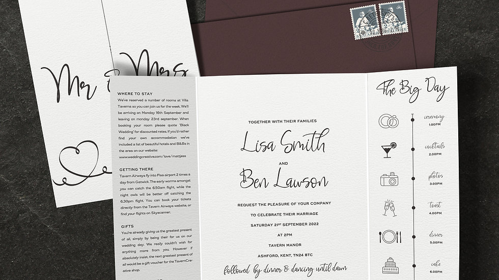 Calligraphy Gatefold Wedding Invitations With Envelopes